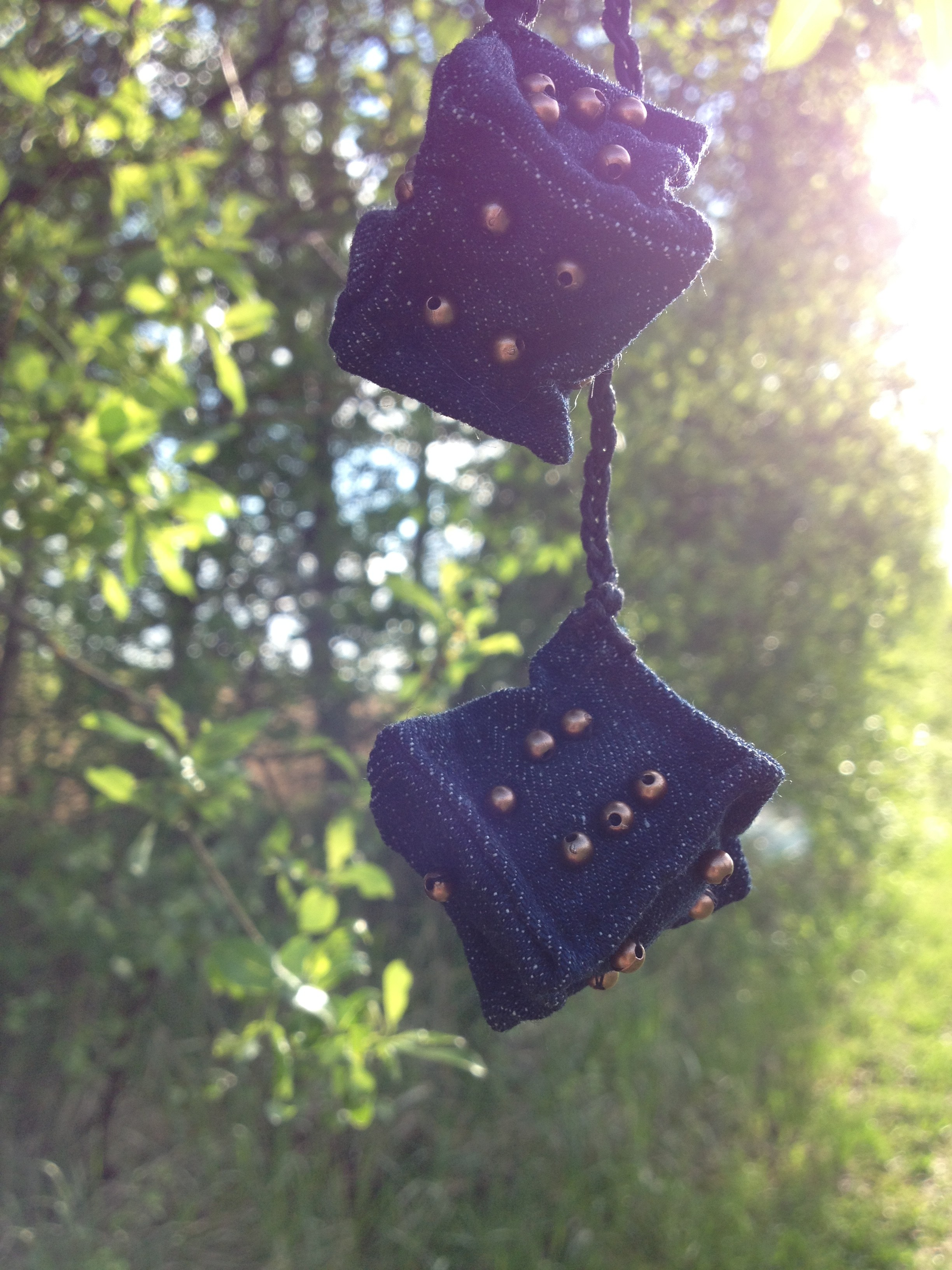 diy miniature denim cubes with copper colored beads as numbers