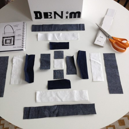 cutting out pieces for my denim quilt bag