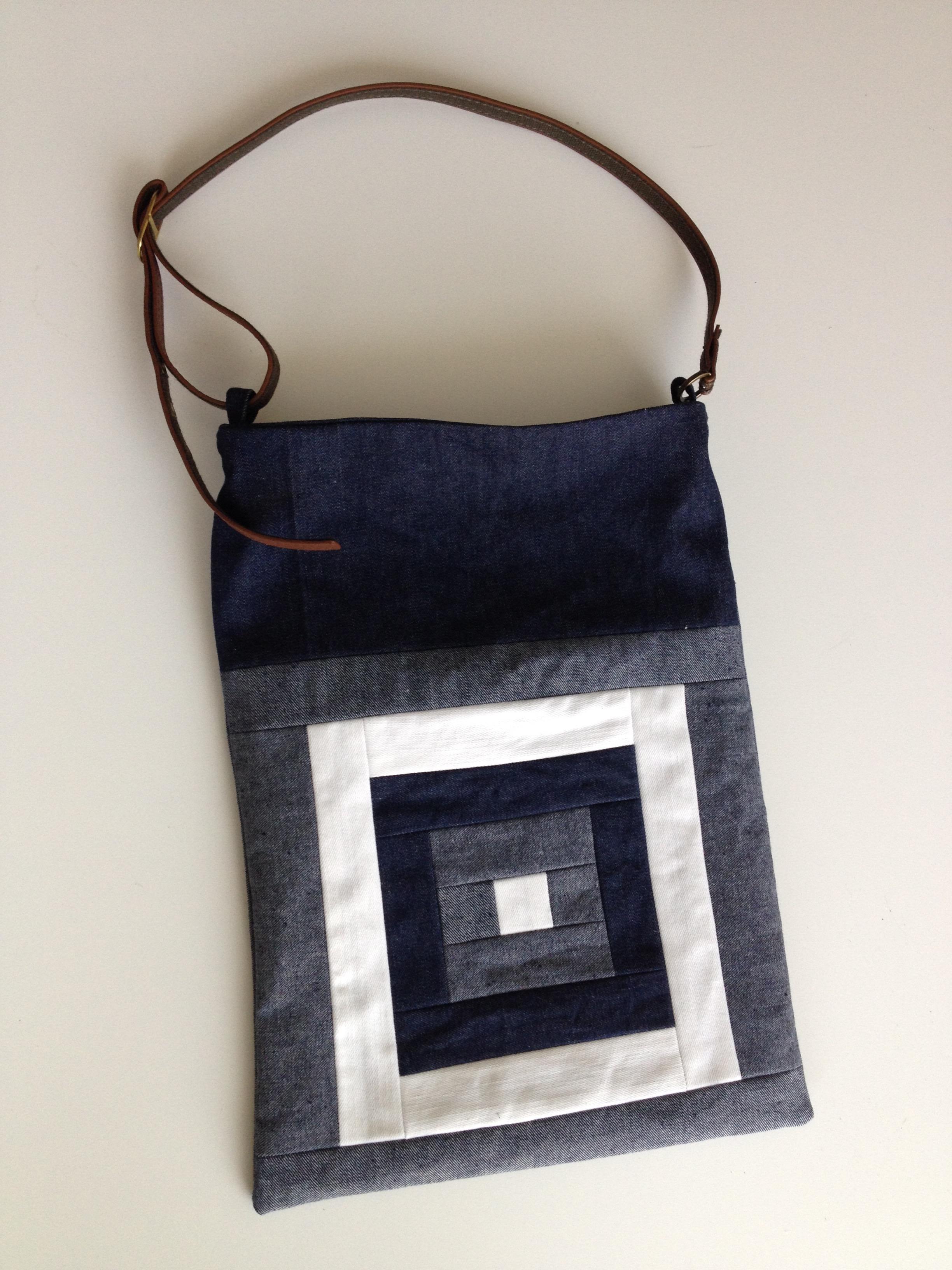 """Kurume kasuri goku masu- five squares"" patterned denim quilt bag with second hand belt"