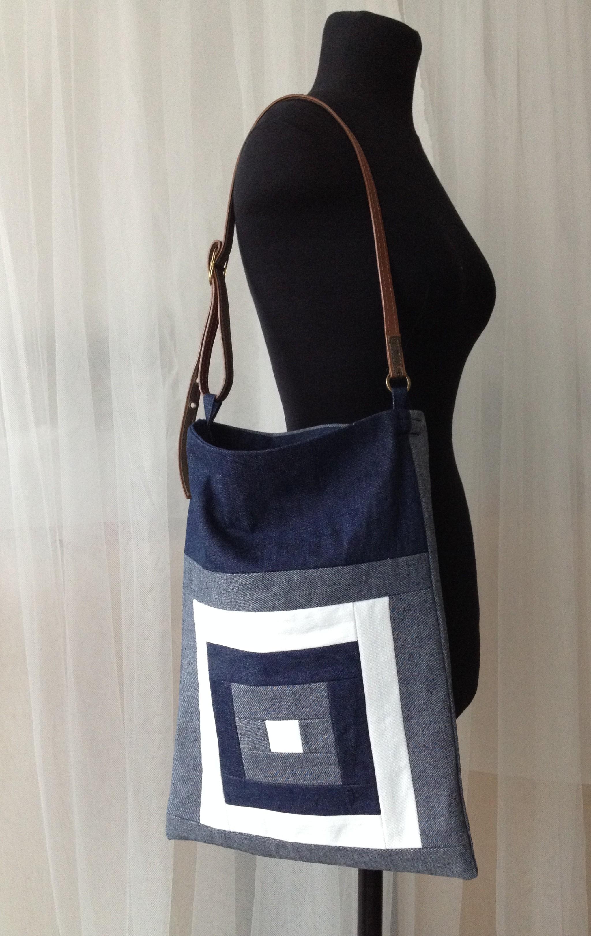 """Kurume kasuri goku masu- five squares"" denim quilt bag on the fitting torso"
