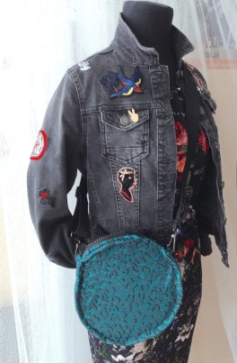 diy round bag from old skirt with denim jacket