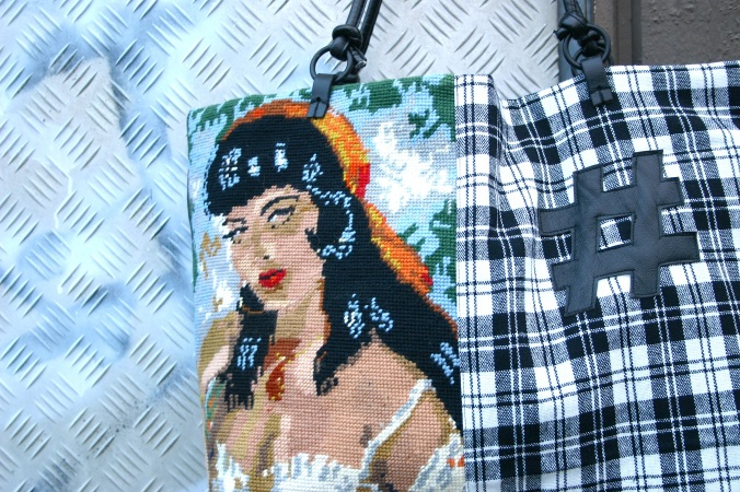 diy gypsy lady cross stitch bag with # decoration