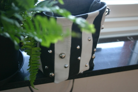diy bag with black and white stripes and studs