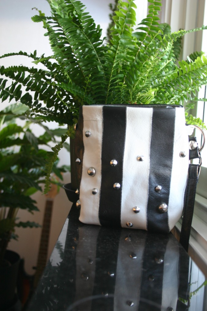 diy bag with stripes and studs, all parts recycled