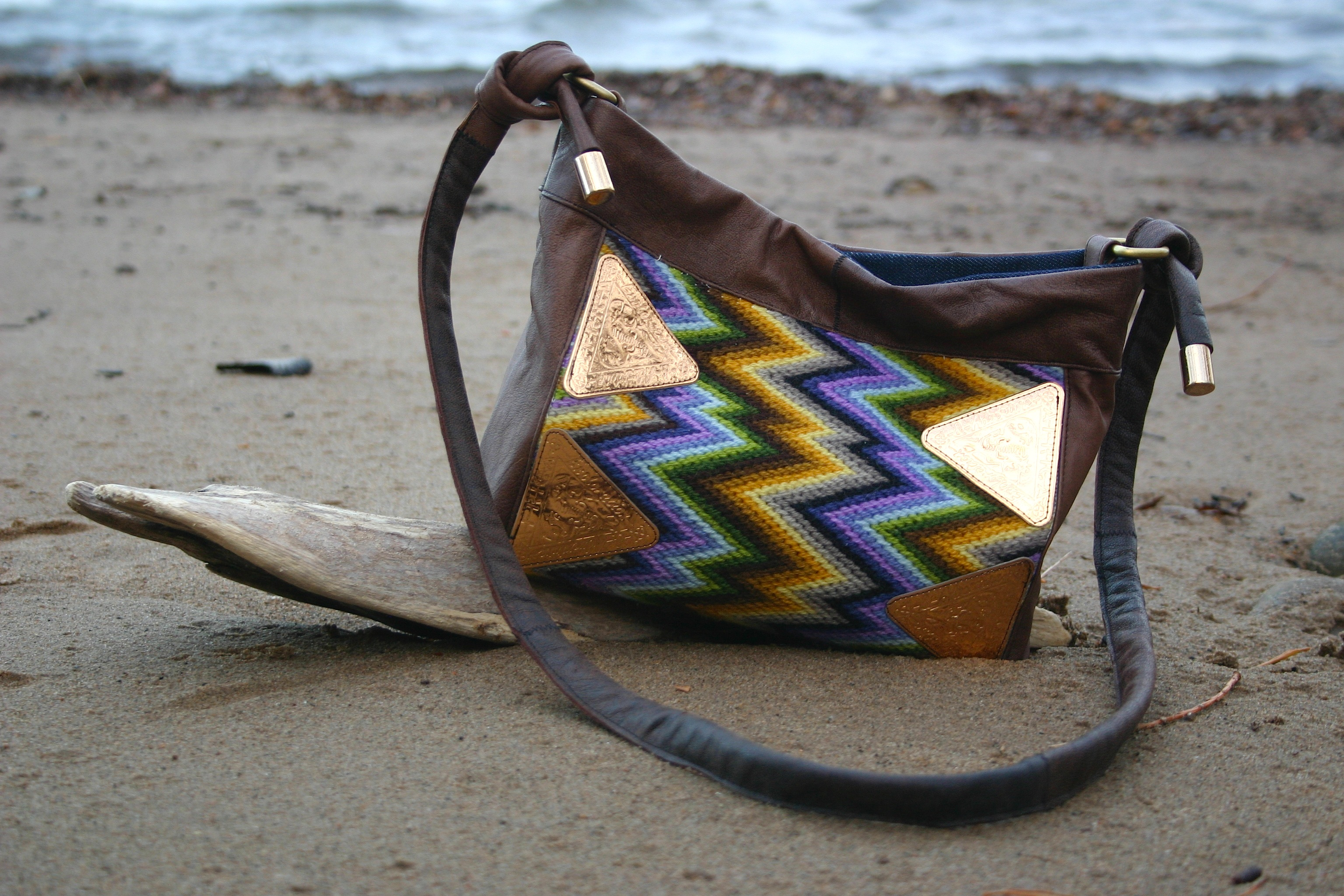 diy bag with recycled cross stitch and leather