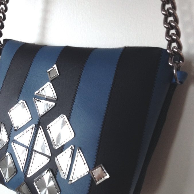 diy bag from fabric sofa samples with holographic details