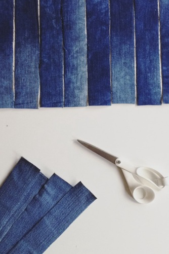 diy work in process recycled denim pieces cut with Fiskars scissors