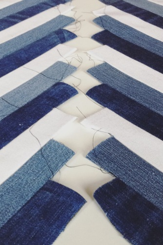 diy sewing recycled denim into chevron pattern