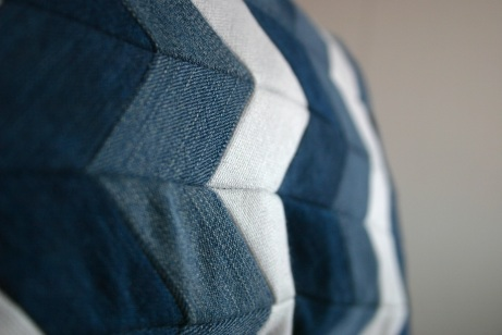 diy chevron pattern denim cushion out of old jeans and linen fabric