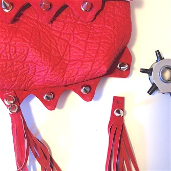 diy red faux leather belt bag