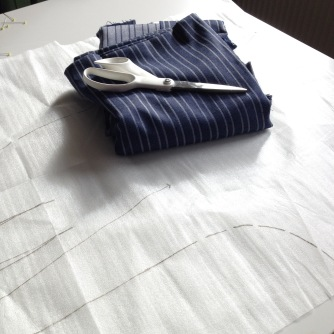 strped denim culottes in the making