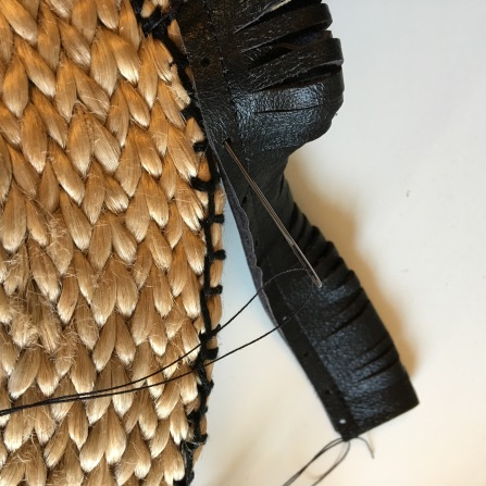 attaching leather fringe deco to straw bag